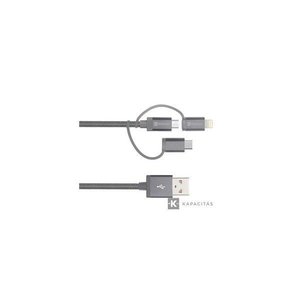 SKROSS Steel line 3in1 (Micro/Type-C/Lightning) 1m USB kábel