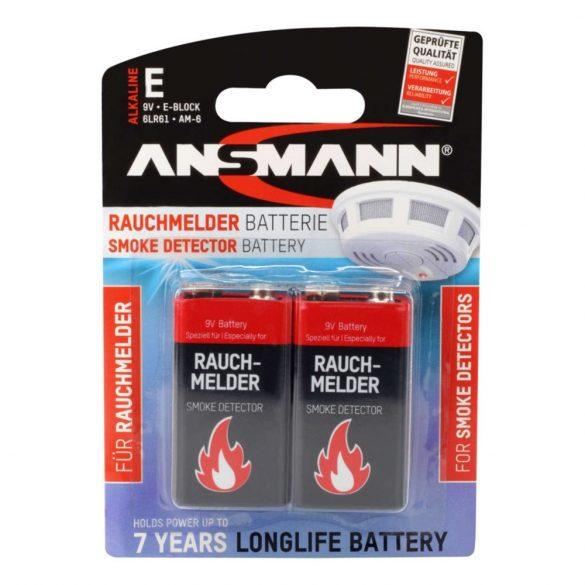 ANSMANN 9V elem 6LR61 füstjelzőbe 2db/bliszter