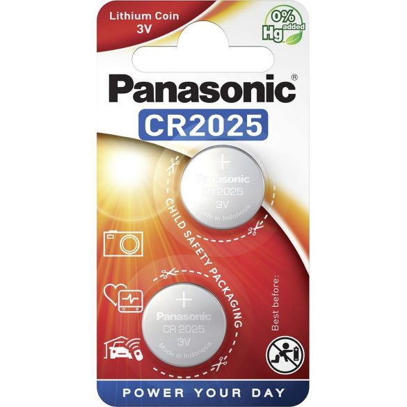 Panasonic CR2025 3V lítium gombelem 2db/csomag