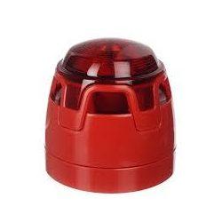 Hagyományos, piros hang-fényjelző, piros búra, piros LED piros test, aljzat