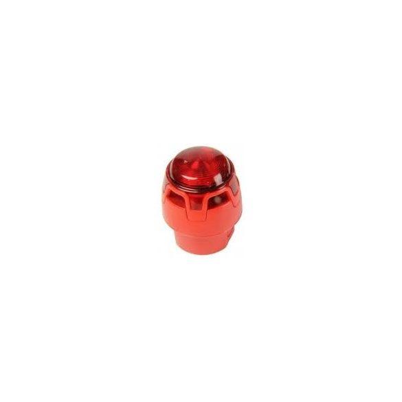 Hagyományos, piros hang-fényjelző, piros búra, piros LED piros test, magasított aljzat Kültéri