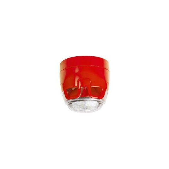 Hagyományos, piros hang-fényjelző, átlátszó búra, piros LED ( O kategória ), lapos aljzat