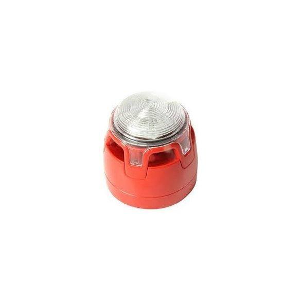 Hagyományos, piros hang-fényjelző, átlátszó búra, piros LED (C, W, kategória) lapos aljzat