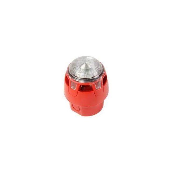 """Hagyományos, piros hang-fényjelző, átlátszó búra, piros LED ( """"O"""" kategória ), magasított aljzat (IP"""