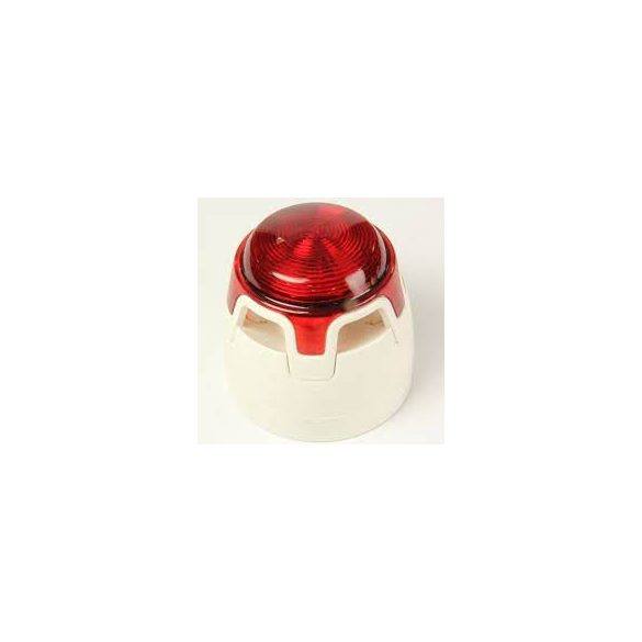 Hagyományos, fehér hang-fényjelző, átlátszó búra, piros LED, lapos aljzat