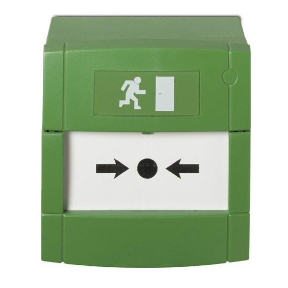 KÉZI JELZÉSADÓ zöld, beltéri. törőüveggel, hátlappal, 2 NO és 2NC kimenet (független) MCP4A
