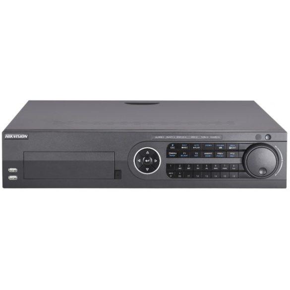 16 csatornás THD DVR; 8MP@8fps; 5MP@12fps, 4MP@15fps; 1080p@25fps; max.32×8MP IP; riasztás I/O