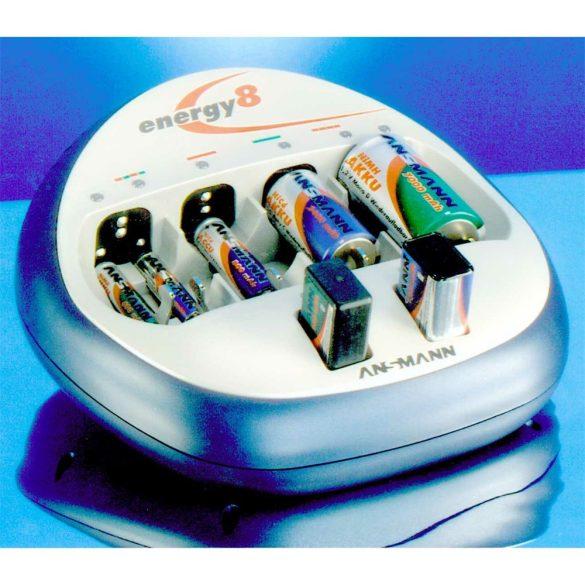 ANSMANN Energy 8 plus akkutöltő, 8 csatona, frissítő funkció, akkutesztelő, USB, csepptöltés