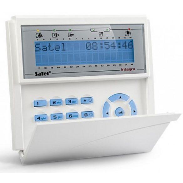 LCD kezelő INTEGRA központokhoz; lenyíló billentyűzetvédővel; kék háttérfény és kijelző