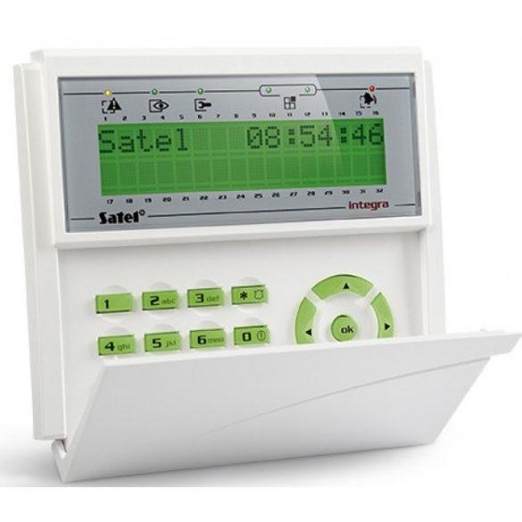 LCD kezelő INTEGRA központokhoz; lenyíló billentyűzetvédővel; zöld háttérfény és kijelző