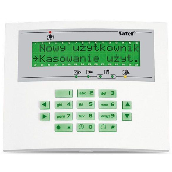 LCD kezelő INTEGRA központokhoz; zöld háttérfény és kijelző