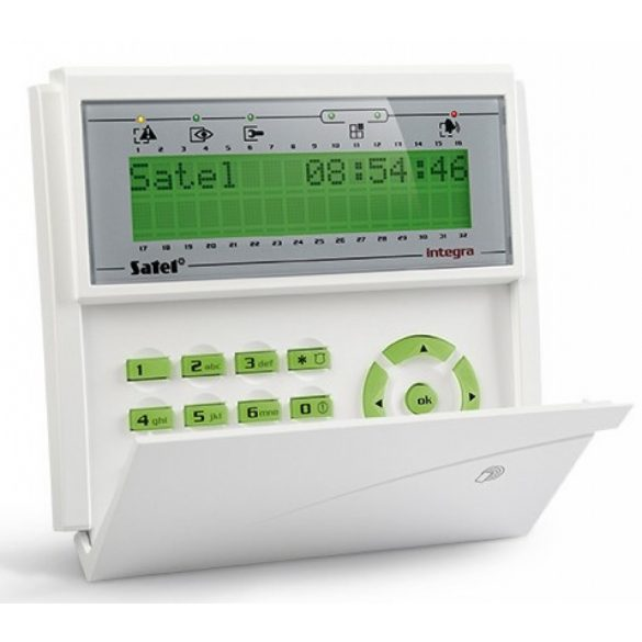 LCD kezelő INTEGRA központokhoz; kártyaolvasóval és lenyíló billentyűzetvédővel; zöld