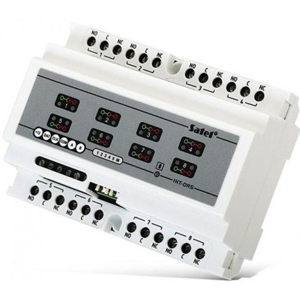 DIN sínre szerelhető kimenetbővítő modul SATEL rendszerekhez; 8 relé kimenet (230 V)