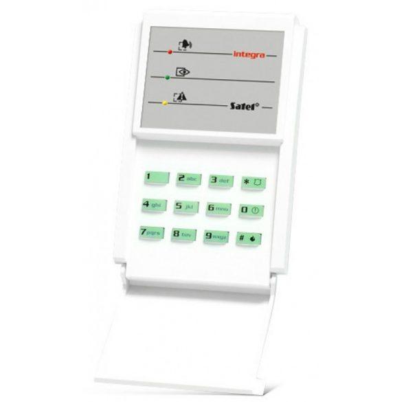 Kódzár INTEGRA központokhoz; lenyíló billentyűzetvédővel; zöld háttérfény