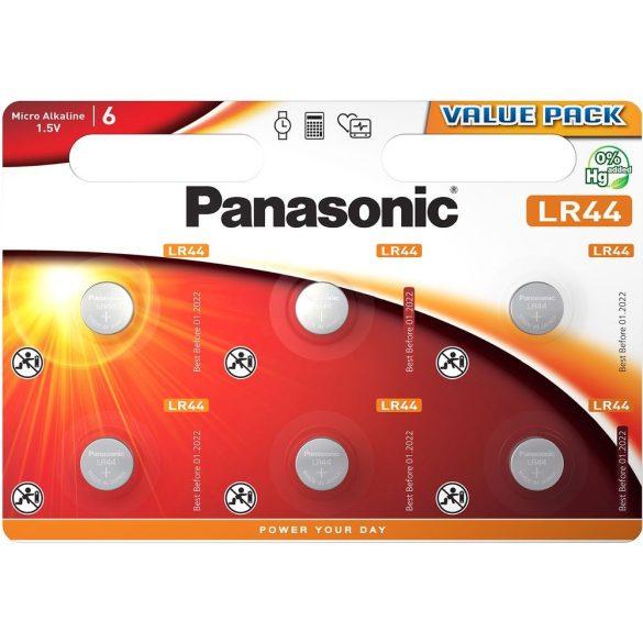 Panasonic LR44EL/6BP alkáli gombelem 6db/bliszter