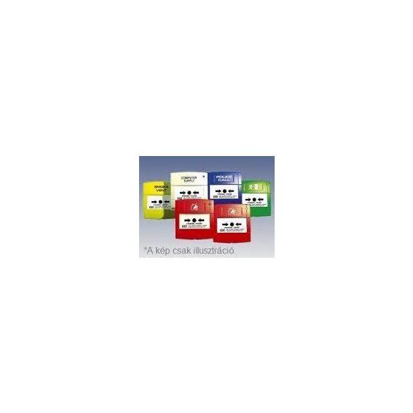 Kézi jelzésadó 2 váltó kontaktussal, piros színben, magyar feliratú műanyag nyomólappal,