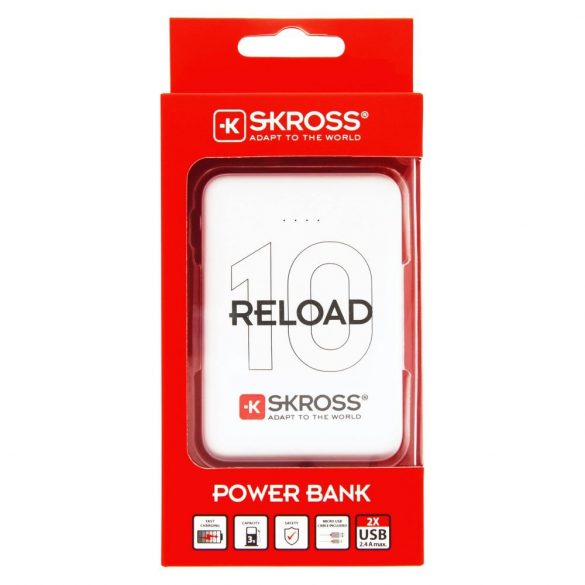 SKROSS Reload10 10Ah power bank USB/microUSB kábellel, két kimenettel