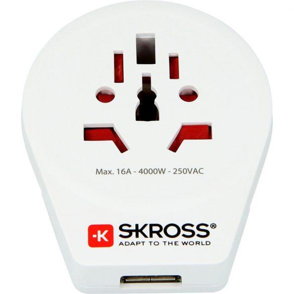 SKROSS 1.500260 World to Europe USB - csatlakozó átalakító európába utazóknak + USB