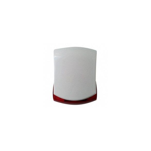 HANG ÉS FÉNYJELZŐ Kültéri akkumulátoros sziréna LED villogóval , belső fém burkolattal